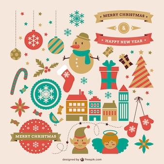 Recursos gráficos de estilo retro para Navidad