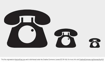 Iconos de teléfono retro en diferentes tamaños