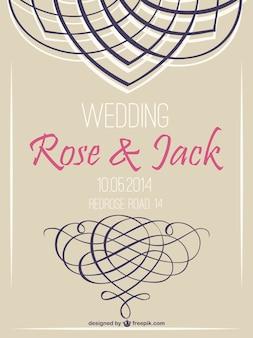 Invitación de boda con líneas ornamentales