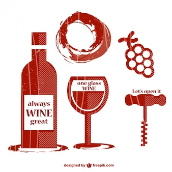 Elementos gráficos de vino estilo retro