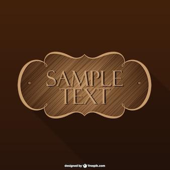 Etiqueta retro de madera