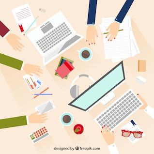 Reunión de negocios en diseño plano