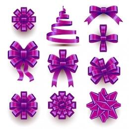 Ricos arcos y las cintas de Navidad