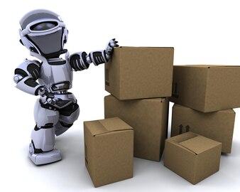 Robot apoyado en cajas de envío