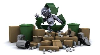 robot con basura y símbolo de reciclaje