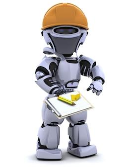 Robot con casco y sujetapapeles
