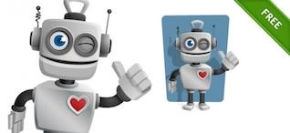 Robot con corazón y pulgar hacia arriba