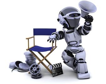 Robot con megáfono y silla de los directores