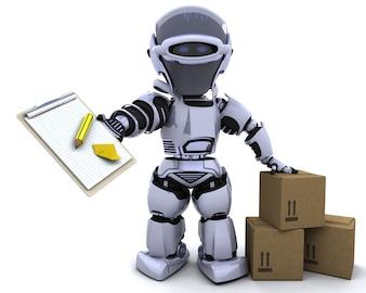 Robot con portapapeles y cajas