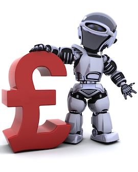 Robot con un símbolo rojo de libra