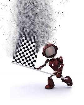 Robot con una bandera de carrera en 3d