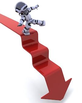 robot en un gráfico de flecha hacia abajo