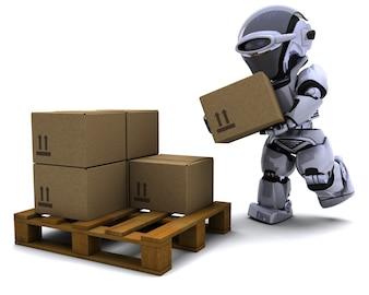 Robot moderno con cajas de envío