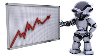 Robot mostrando gráfico con buenos progresos
