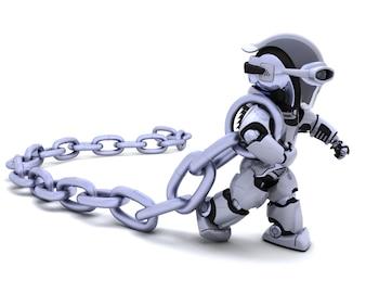 Robot que sostiene un cadena