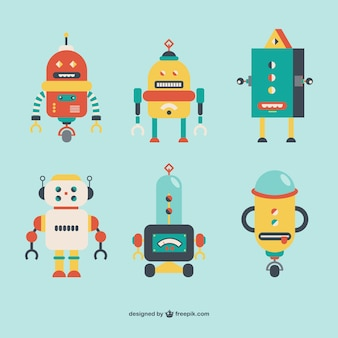 Colección de robots estilo retro
