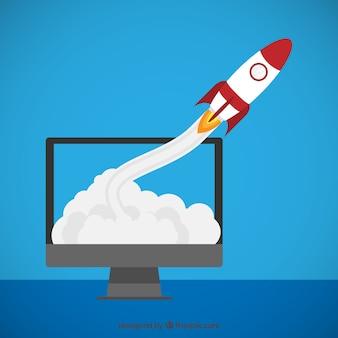 Rocket volando fuera de la pantalla
