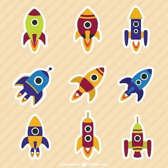 Colección de cohetes en estilo de dibujos animados