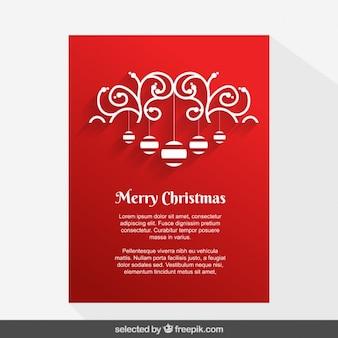 Rojas Tarjetas ornamental de Navidad con adornos