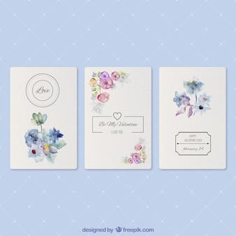 Tarjetas románticas con flores de acuarela