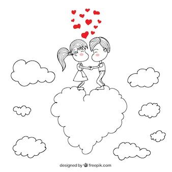 Dibujo de pareja romántica