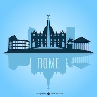 Roma silueta de paisaje urbano