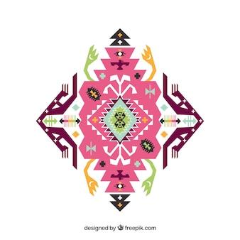 Rosa ornamento étnico