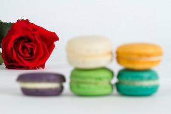 Rosa roja junto a galletas borrosas