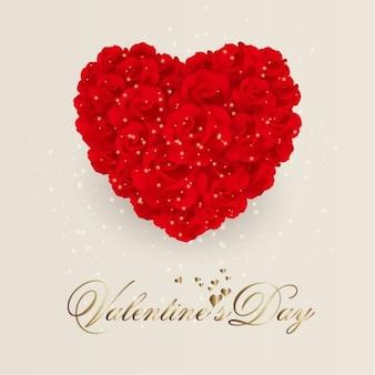 Flores color de rosa del corazón. valentín