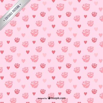 Patrón de rosas y corazones