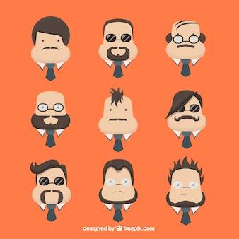 Rostros de caracteres de hombre