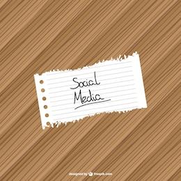 Rótulo redes sociales con fondo de madera