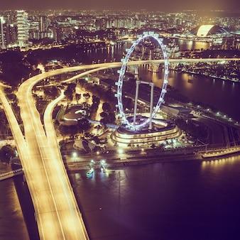 Rueda de paisaje urbano de la ciudad asiática edificio