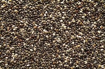 Sabroso fondo chia semillas frescas. Vista superior. Superfood, concepto de alimentos saludables.