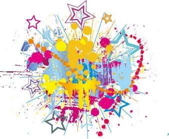 salpicaduras de tinta de colores brillantes con fondo vector de estrellas