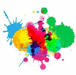 salpicaduras de tinta de colores brillantes sobre fondo blanco