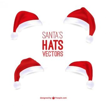 Sombreros de Papá Noel ilustraciones