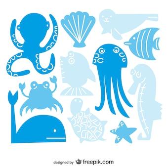 Colección de vectores de criaturas marinas