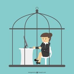 Secretaria encerrada en una jaula de pájaros