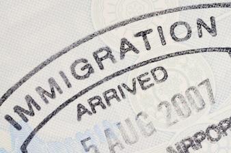 Sello en el pasaporte de inmigración