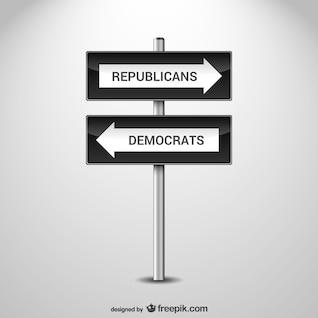 Señal de carretera de política estadounidense