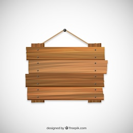 Señal de madera colgando de una cuerda