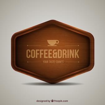 Señal de madera de cafetería