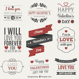 Set de etiquetas del Día de San Valentín
