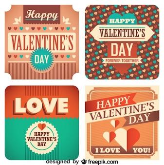 Set de tarjetas vintage de amor del día de San Valentín