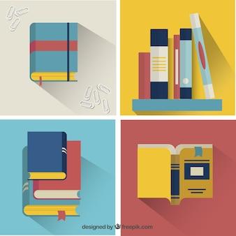 Conjunto de libros de colores en diseño plano