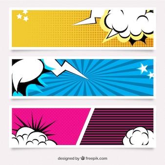 Conjunto de banners de cómic
