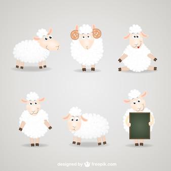 Colección de dibujos animados de las ovejas