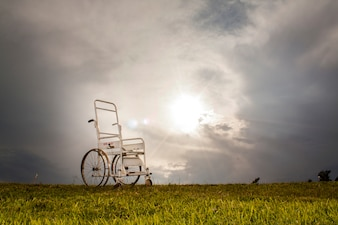 Silla de ruedas en la pradera