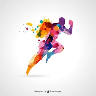 Silueta de atleta con gotas de pintura